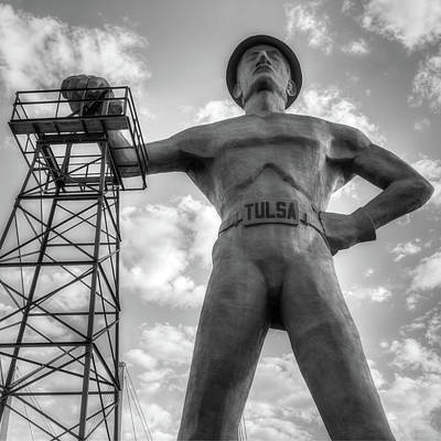 Photograph - Square Format Tulsa Oklahoma Golden Driller - Black And White by Gregory Ballos