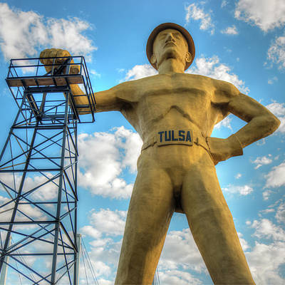 Photograph - Square Format Tulsa Oklahoma Golden Driller - Color by Gregory Ballos