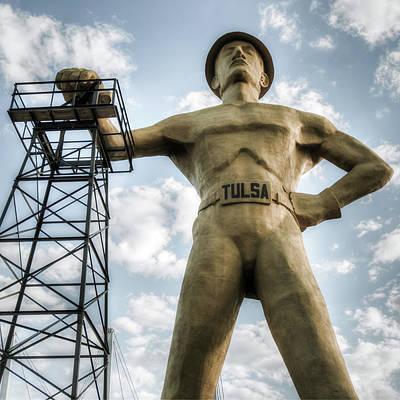 Photograph - Square Format Tulsa Oklahoma Golden Driller - Vintage by Gregory Ballos