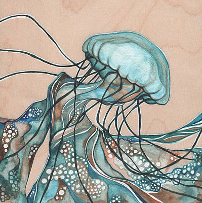 Marine Painting - Square Lucid Jellyfish On Wood by Tamara Phillips