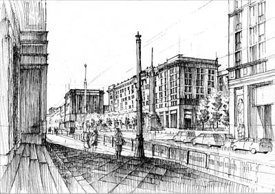 Soviet Union Drawing - Square Of Constitution, Warsaw by Krystian  Wozniak