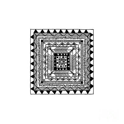 Abstract Design Drawing - Square Pattern by Konstantin Sevostyanov