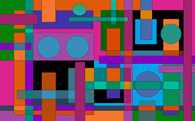 Playful Digital Art - Square Pegs by Val Arie