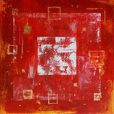 Copper Foil Painting - Square Red And Gold by Kathleen Wong