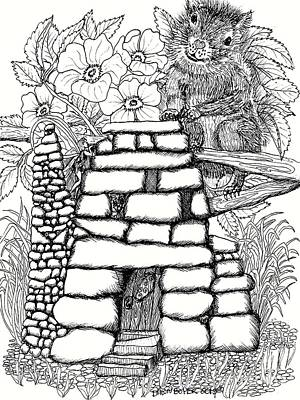 Fairy House Drawing - Square Rock Fairy House And Squirrel by Dawn Boyer