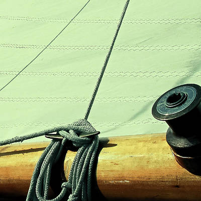 Photograph -  Square Sailboat Rigging In Mint  by Tony Grider