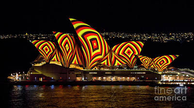 Photograph - Square Sails - Sydney Opera House - Vivid Sydney by Bryan Freeman