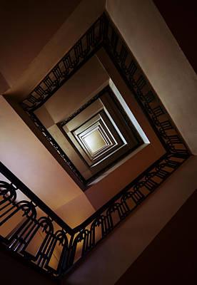 Photograph - Square Staircase In Brown Tones by Jaroslaw Blaminsky