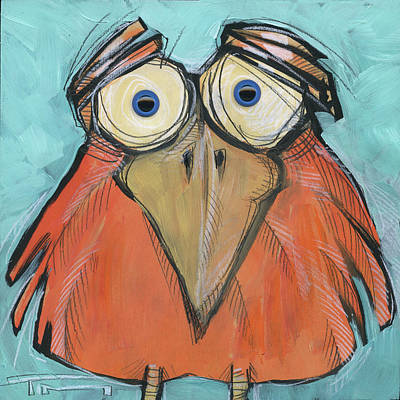 Painting - Squarebird 22 With Eyes by Tim Nyberg