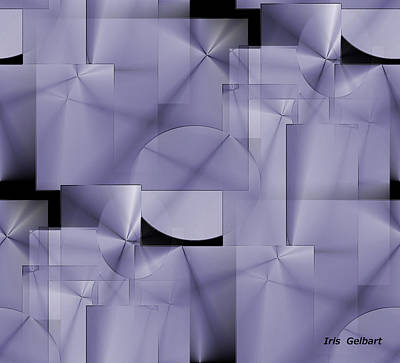 Digital Art - Squares And Circles In Violet by Iris Gelbart