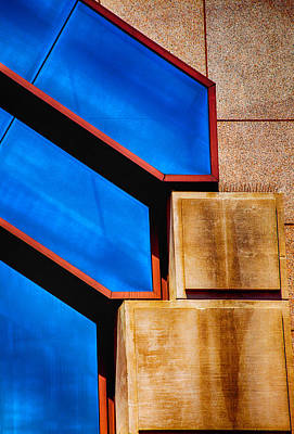 Blue And Red Photograph - Squares And Lines by Karol Livote