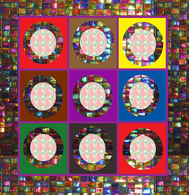 Digital Art - Squares Crystal Stone Marble Tiled Borders Round Circled Mirrors Abstract Navinjoshi Fineartamerica  by Navin Joshi