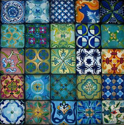 Ceramic Art Tile Painting - Squares by Luciana Toma