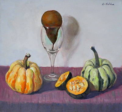 Painting - Squash And Squashed Pear by Robert Holden