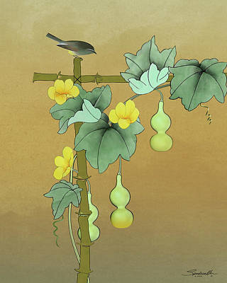Digital Art - Squash Vine And Bamboo by Spadecaller