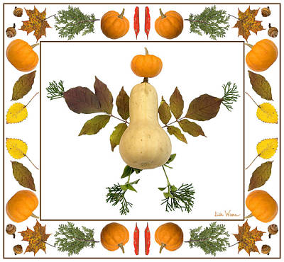 Digital Art - Squash With Pumpkin Head by Lise Winne