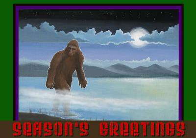 Art Print featuring the digital art Squatch Season's Greetings by Stuart Swartz