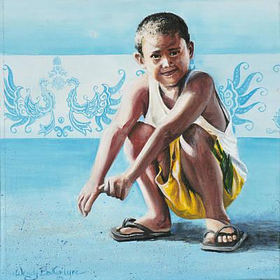 Filipino Painting - Squatting Boy by Wendy Ballentyne