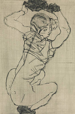 Relief - Squatting Woman by Egon Schiele