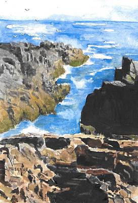 Painting - Squeeker Cove On Monhegan Island In Maine  by Roseann Meserve