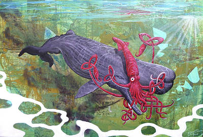 Giant Squid Painting - Squid Vs Whale by Bill Flowers