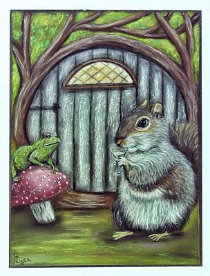 Wall Art - Pastel - Squirrel And Frog Chat by Carol Iyer