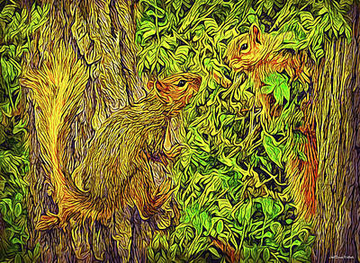 Digital Art - Squirrel Chat by Joel Bruce Wallach