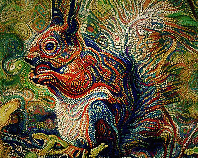 House Pet Digital Art - Squirrel Dot Abstract by Yury Malkov