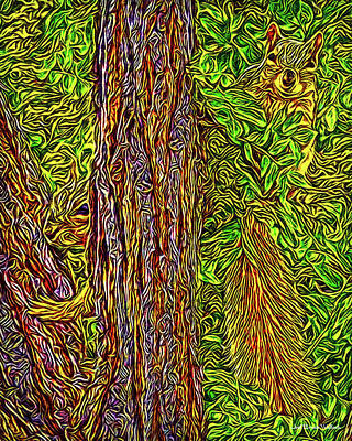 Digital Art - Squirrel Gazing by Joel Bruce Wallach