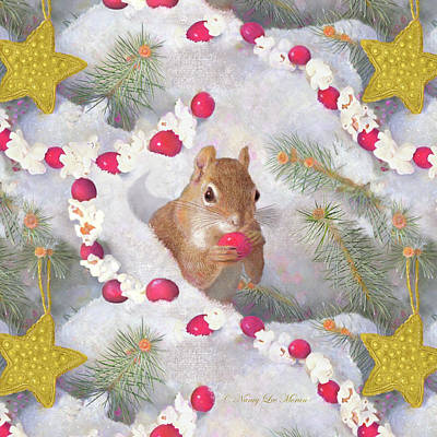 Painting - Squirrel In Snow With Cranberries by Nancy Lee Moran