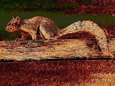Digital Art - Squirrel On Fence by Ed Weidman