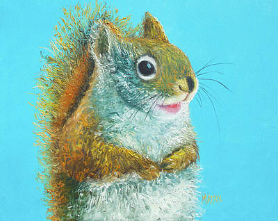 Painting - Squirrel Painting On Blue Background by Jan Matson