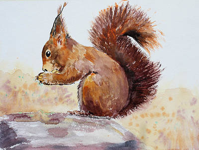 Squirrel Watercolor Painting - Squirrel  by Peggy Rustler