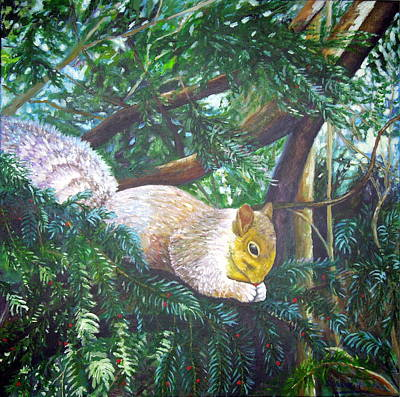 Painting - Squirrel Snacking by Shirley Wellstead