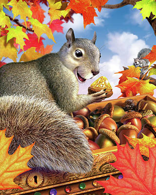 Autumn Leaf Digital Art - Squirrel Treasure by Jerry LoFaro
