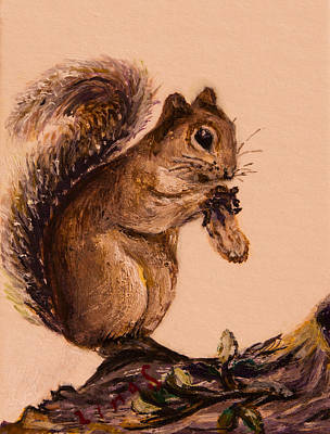 Wildlife Painting - Squirrel  by Zina Stromberg