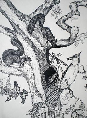 Squirrels And Bird Art Print by Tammera Malicki-Wong