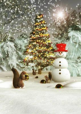 Painting - Squirrels Decorating Christmas by Jan Keteleer