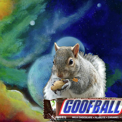 Deep Space Art Mixed Media - Squirrels In Space by Deb Breton