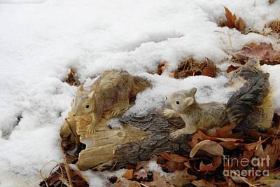 Squirrels In Winter Art Print by Bill Hyde