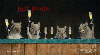 Champagne Painting - Squirrel's Night Out... by Will Bullas