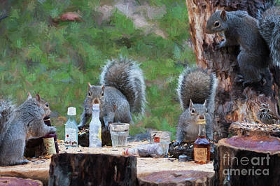 Photograph - Squirrels Relaxing At The Sunflower Seed Convention by Dan Friend