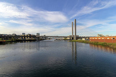 Wall Art - Photograph - Sr 509 Cable-stayed Bridge In Tacoma by David Gn
