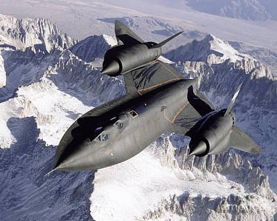 Snow Covered Photograph - Sr-71b Blackbird In Flight by Stocktrek Images