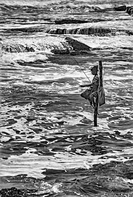 Angling Photograph -  Sri Lanka - Stilt Fisherman 2 Bw by Steve Harrington