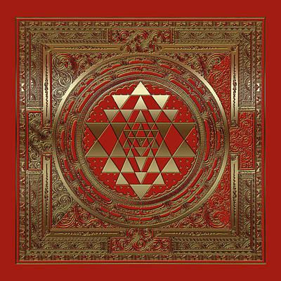 Digital Art - Sri Yantra Dna Of The Cosmos  Symbol Red  Gold  by ReadyForYoga Online-Shop