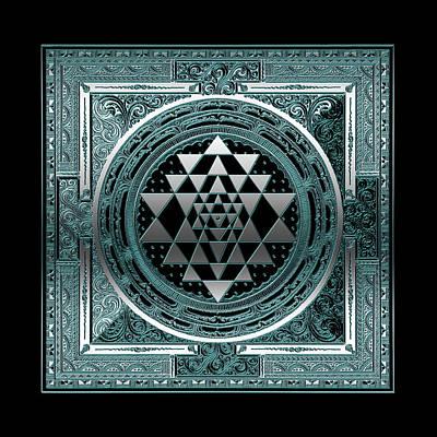 Digital Art - Sri Yantra Dna Of The Cosmos Symbol Silver Black Lightblue by ReadyForYoga Online-Shop