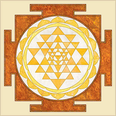 Hindu Goddess Digital Art - Sri Yantra. Sri Chakra. Yoga Decor. Marble Texture. by Ananta Govinda