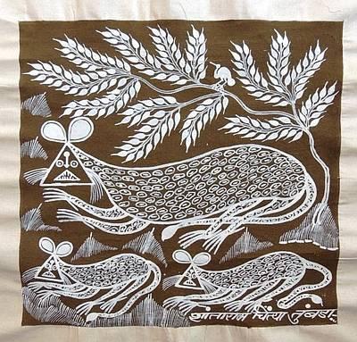 Indian Tribal Art Painting - Srt 193 by Shantaram Chaitya Tumbada