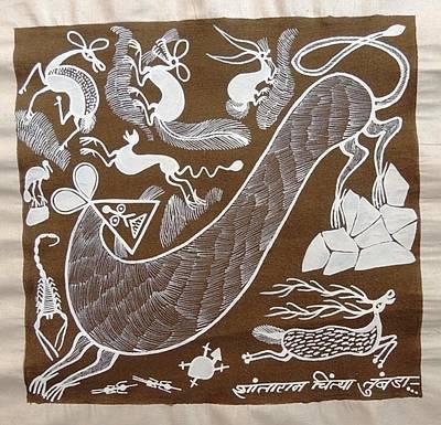 Indian Tribal Art Painting - Srt 196 by Shantaram Chaitya Tumbada